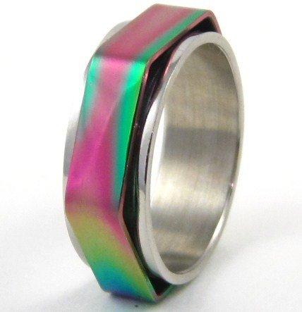 Shiny Rainbow Hexagonal Spinning Stainless Steel Ring SSR35 Sz 9