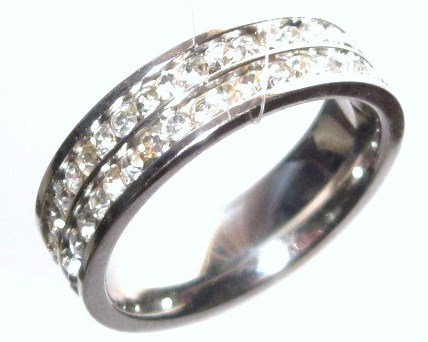 CZ Double Row Stainless Steel Eternity Ring  SSR1576 Sz 6