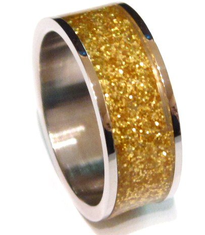 Unisex Gold Glitter Stainless Steel Band Ring, SSR1792