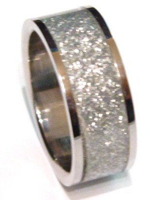 Silver Glitter Stainless Steel Band Ring SSR1793 Sz 11