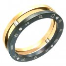 Zodiac Black Gold Stainless Steel Ring SSR1948 Sz 9