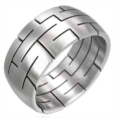 10mm Etched Maze Stainless Steel Ring, SSR1955