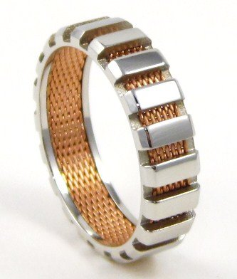 Unisex Exquisite Rose Gold Mesh 2 Tone Stainless Steel Ring SSR4300 Sz 8
