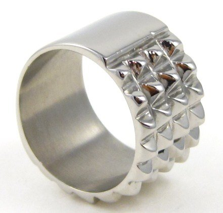 14mm Fit Spike Stainless Steel Bikers Ring SSR4451 Sz 6.5