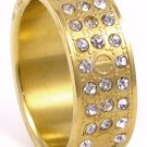 CZ Paved Gold Unisex Stainless Steel Ring SSR4873