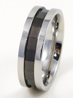 High Polish Black Stainless Steel Ring SSR4910