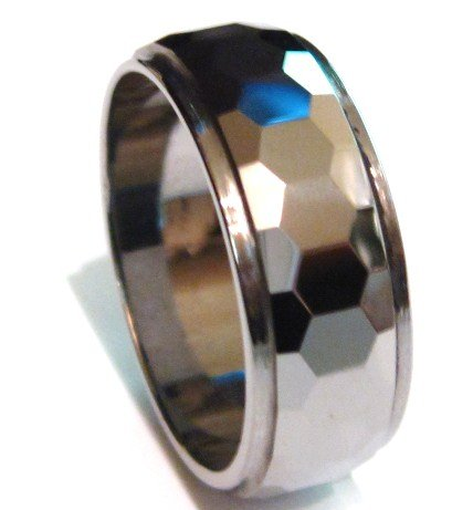 9mm High Polish Faceted Tungsten Carbide Ring TU3042