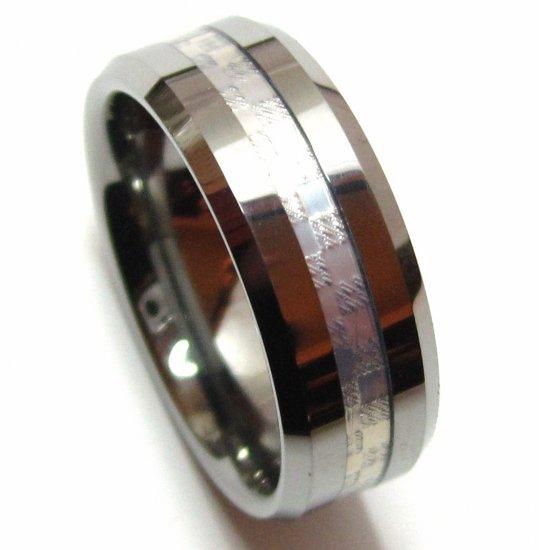 Silver Carbon Fiber Tungsten Carbide Ring, TU3107 Sz 10, 12