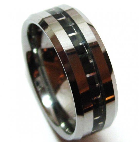 Black Carbon Fiber Tungsten Carbide Ring, TU3109
