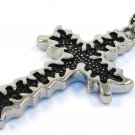 "1.8"" Jagged Edge Black Stainless Steel Cross Pendant with FREE 20"" SS Ball Chain SSP3637"