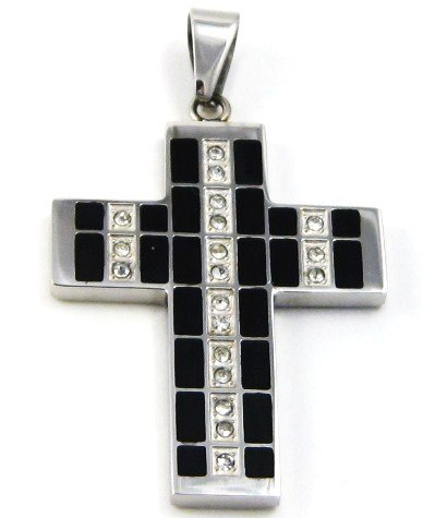 """Black Stainless Steel Cross Pendant with Clear CZ - FREE 20"""" SS Ball Chain SSP3666"""