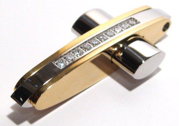 Stunning 2 tone Gold Stainless Steel Sparkling CZ Cross Pendant SSP5848