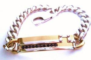Black CZ Stainless Steel ID Bracelet SSB10161