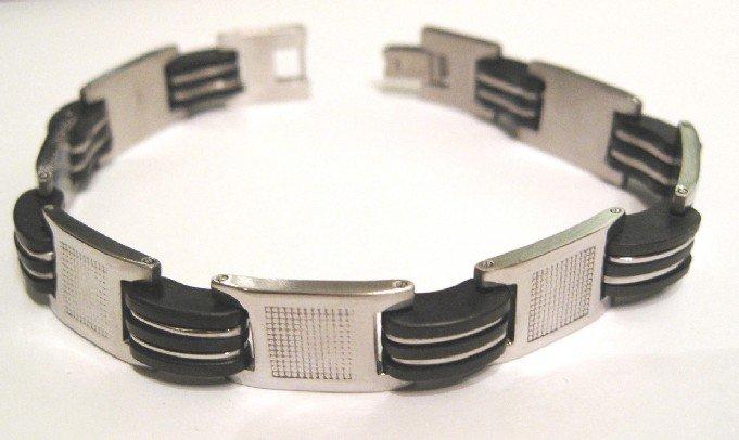 Black Rubber Stainless Steel Bracelet SSB23