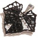 "Stunning Black Filigree Leaf CZ Pendant with FREE 20"" SS Ball Chain SSP7824"
