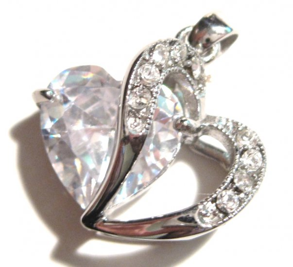 """Large Sparkling CZ Heart Stainless Steel Pendant with FREE 20"""" SS Ball Chain SSP8951"""