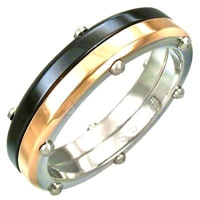 Unisex High Polish Black Gold Stainless Steel Ring with screws SSR2997