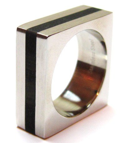 Black Resin Square Stainless Steel Statement Ring SSR1865