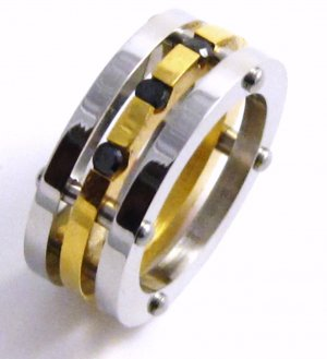 Triple Band Gold Stainless Steel Ring Black CZ SSR5107