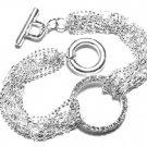 Stunning Multichain Crystal Eternity Ring Rhodium Finish Bracelet BR04