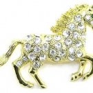 Crystal Pave Horse Gold Plated Brooch Pin Broach BP76