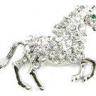 Stunning Crystal Pave Horse Silver Brooch Pin Broach BP77