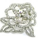 "2.25"" Crystal Pave Rose Rhodium Plated Flower Brooch BP85"