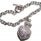 Sparkling Crystal Pave Heart Crown Toggle Bracelet BR11