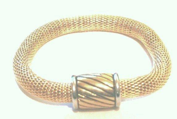 Trendy Magnetic Fastening Barrel 14K Gold EP Mesh Bracelet BR34