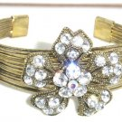Stunning Sparkling Crystal Flowers Antique Gold Wire Cuff Bracelet BR31
