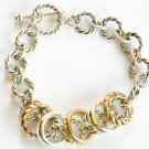 Twisted Chain Links Toggle Bracelet 5 Assorted Rings BR46