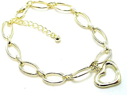 Beautiful Gold EP Hollow Heart Chain Link Charm Bracelet BR48