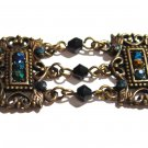 Victorian Style Antique Gold Crystal Beads Chain Link Bracelet BR63