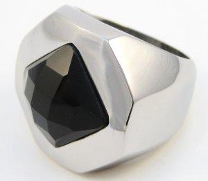 Unisex Chunky Black Onyx Stainless Steel Statement Ring SSR5133  Sz 8