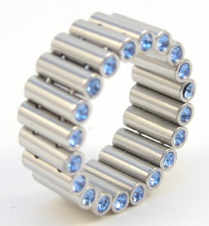 Unique Blue CZ Tube Link Stainless Steel Ring SSR4916