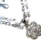 Clear Crystal Pave Rose Glass Pearl Necklace NP59