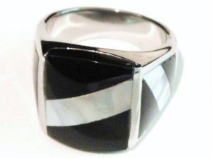 Black Onyx Abalone Stainless Steel Ring SSR5226 Sz 10.5