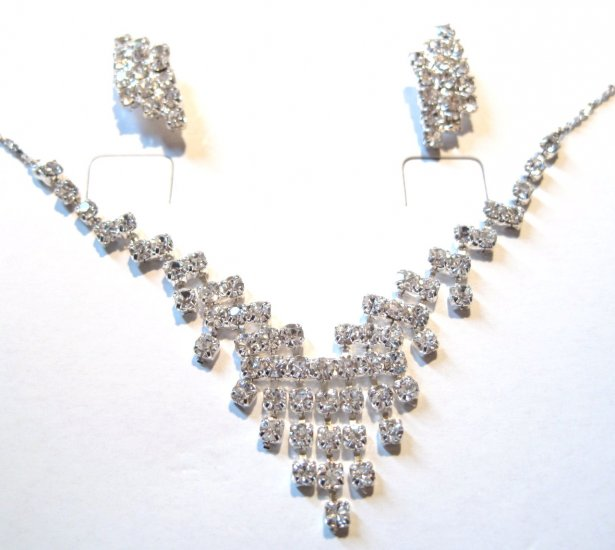 Sparkling Crystal Pave Bridal Prom Necklace Earrings Set NP01