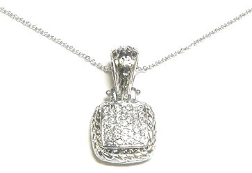 Twisted Rope Square Crystal Silver Pendant NP34