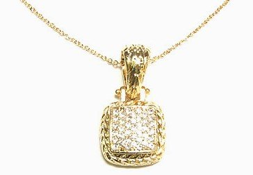 Gold Twisted Rope Square Crystal Pendant NP35