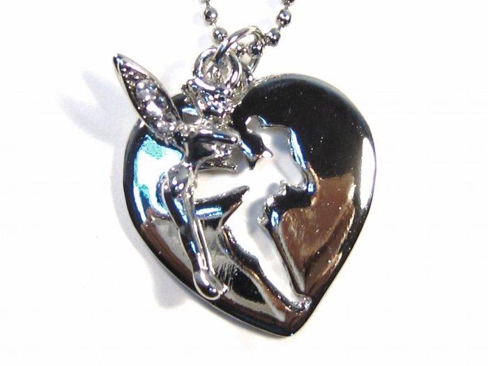 Adorable CZ Fairy Cut Out Heart Pendant Necklace NP66