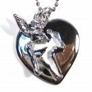 Adorable CZ Fairy Cut Out Heart Pendant Necklace NP66