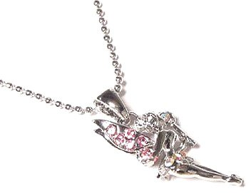Pink Crystal Fairy Pendant Necklace NP69