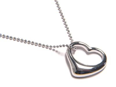 14K White Gold EP Hollow Heart  Ball Chain  Necklace Pendant NP73