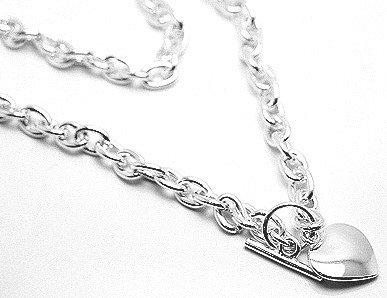 Rhodium Finish Heavy Chain Heart Charm Toggle Necklace Pendant NP75