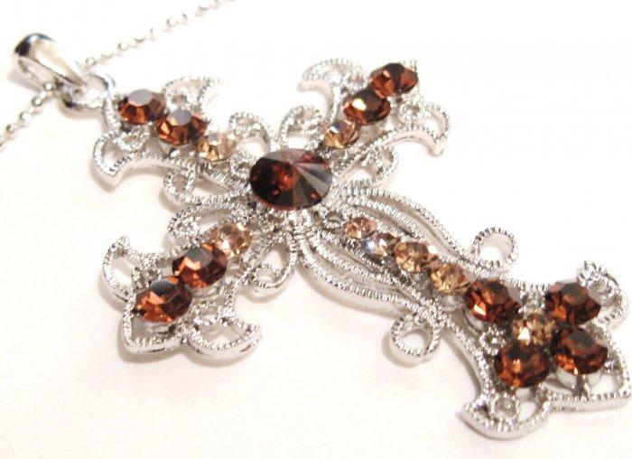 Sparkling Topaz Austrian Crystal Filigree Cross Necklace Pendant NP81