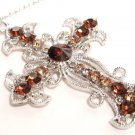 Sparkling Topaz Austrian Crystal Filigree Cross Necklace Pendant NP81