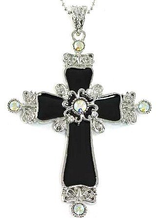 """3.25"""" Black Cross AB Crystal Pendant Necklace Chain NP82"""