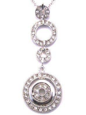 Rhodium Finish Crystal Pave Circles Pendant Necklace NP85