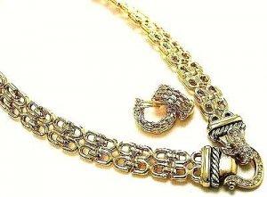 14K Gold EP Crystal Choker Earrings Set NP93